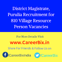 District Magistrate, Purulia Recruitment for 810 Village Resource Person Vacancies