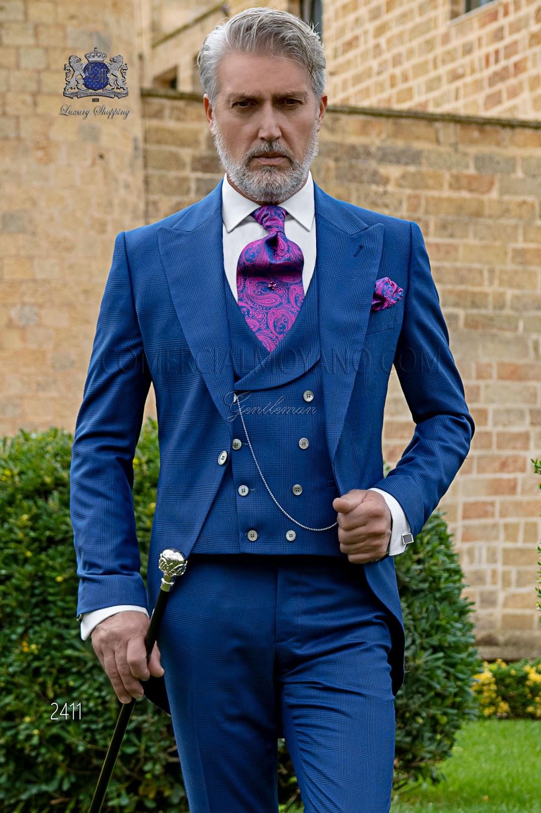 02a66635ee750 Chaqué de novio príncipe de gales azul royal