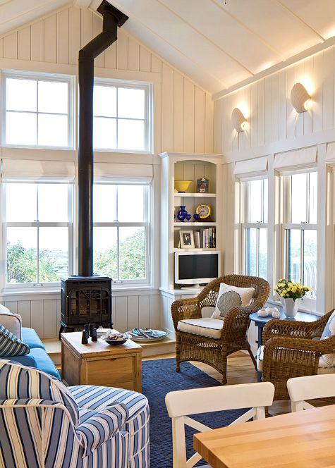 Blue and White Coastal Nautical Living Room