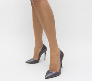 Pantofi stiletto eleganti grei cu toc inalt subtire