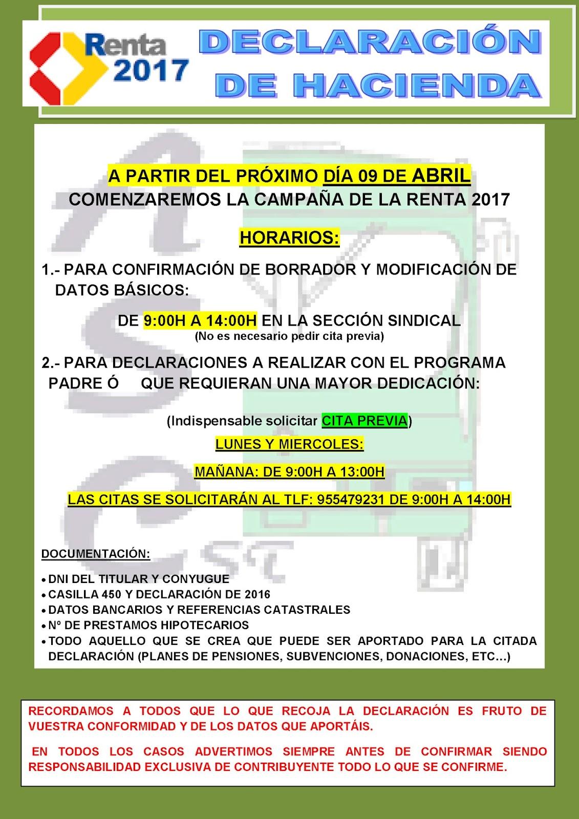ASC SEVILLA: CAMPAÑA DECLARACIÓN HACIENDA 2017