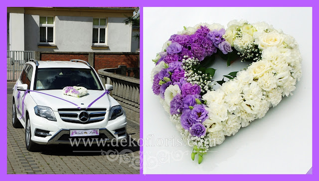 Ślubna dekoracja samochodu opolskie - kwiatowe serce
