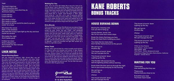 KANE ROBERTS - Saints And Sinners [YesterRock Ltd. Edition remastered +4] booklet
