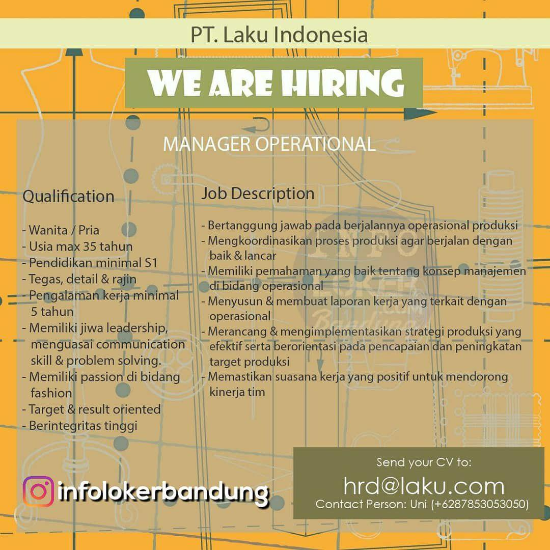 Lowongan Kerja Manager Operasional PT. Laku Indonesia Bandung November 2018