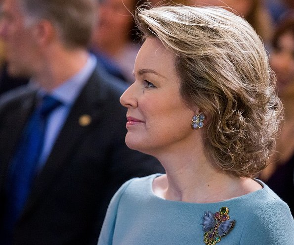 Queen Mathilde attends the opening session of the Spring of Philanthropy at the Concert Noble in Brussels. King Baudouin Foundation