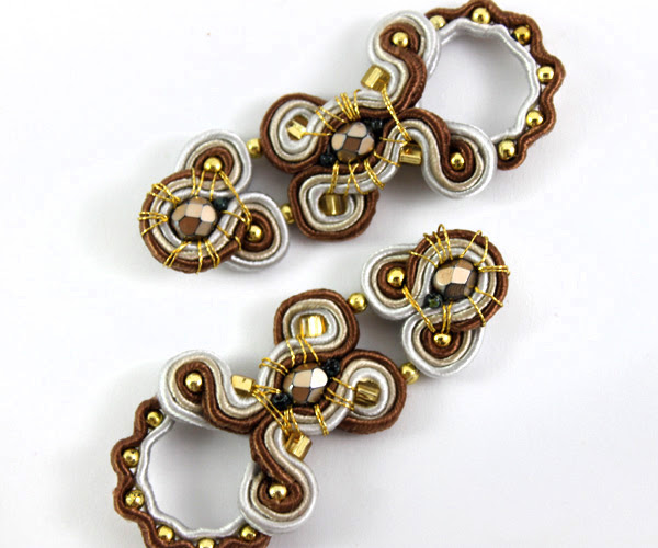soutache handmade jewelry.Colorful jewelry for every ocasscion, soutache for   wedding, party, brown, grey, gold, openwork,