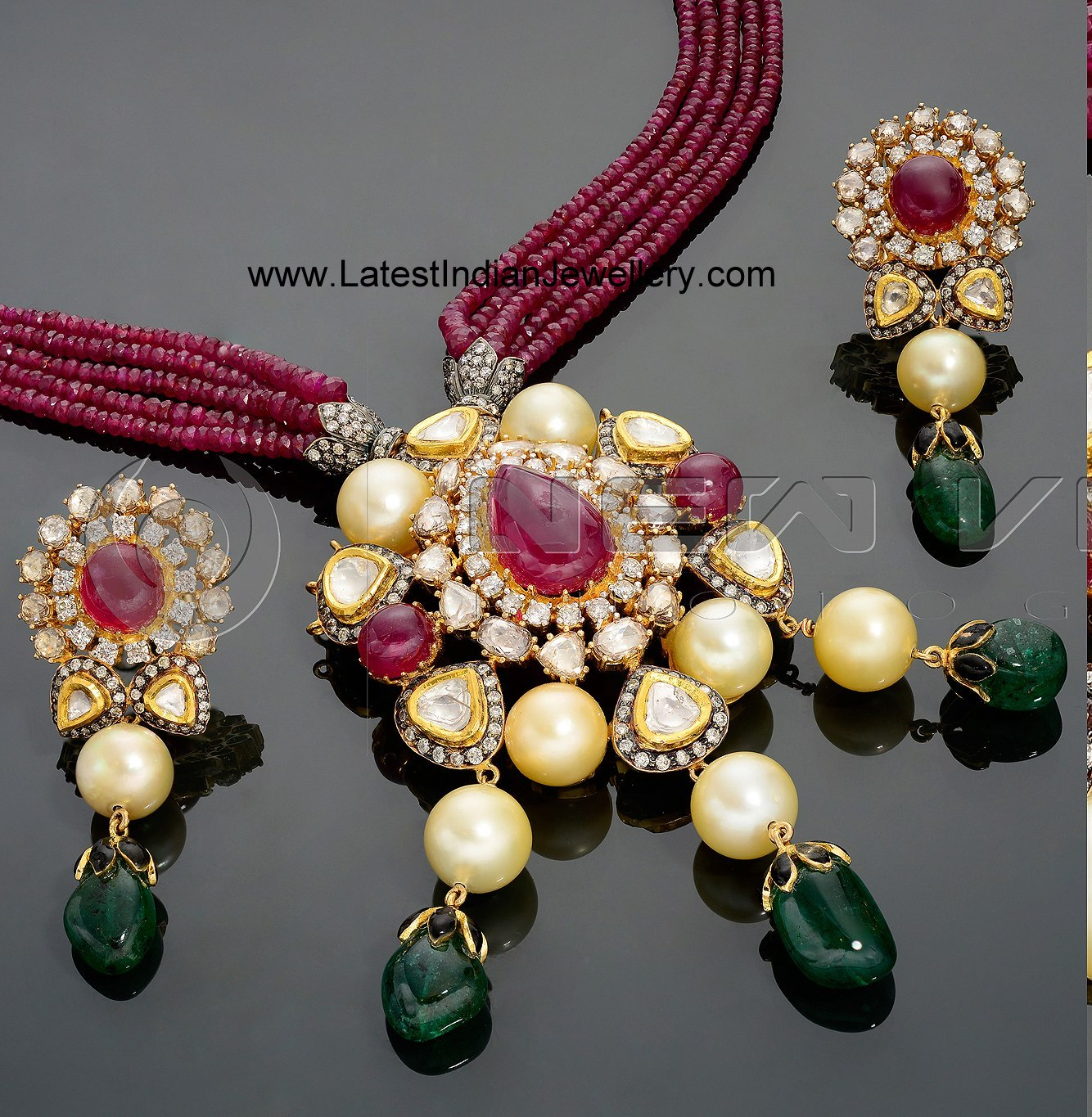 Ruby Beads Necklace With Kundan Polki Pendant Set Latest