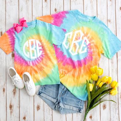 monogrammed tie dye t-shirt