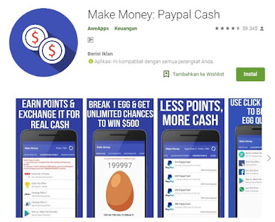 Make Money : Paypal Cash Aplikasi Penghasil Dolar