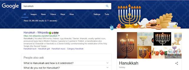 Hanukkah, Google page banner