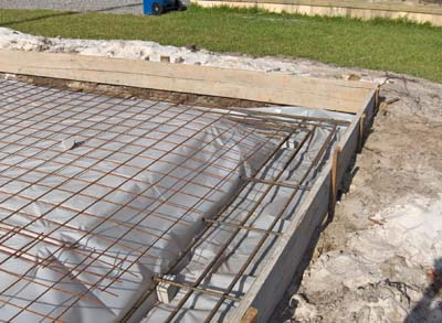 a covered concrete slab