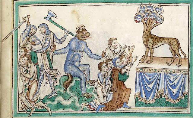 O Anticristo se fará adorar no templo de Deus e perseguirá os católicos fiéis. Apocalipse de Salisbury, Inglaterra, 1275-6, na Biblioteca Nacional da França, Paris