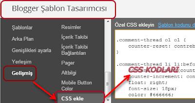 CSS Kodu Şablon Görsel Açıklaması