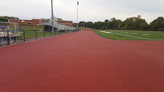 the track was laid down although the running lane lines  remain to be painted when I stopped by Thursday evening