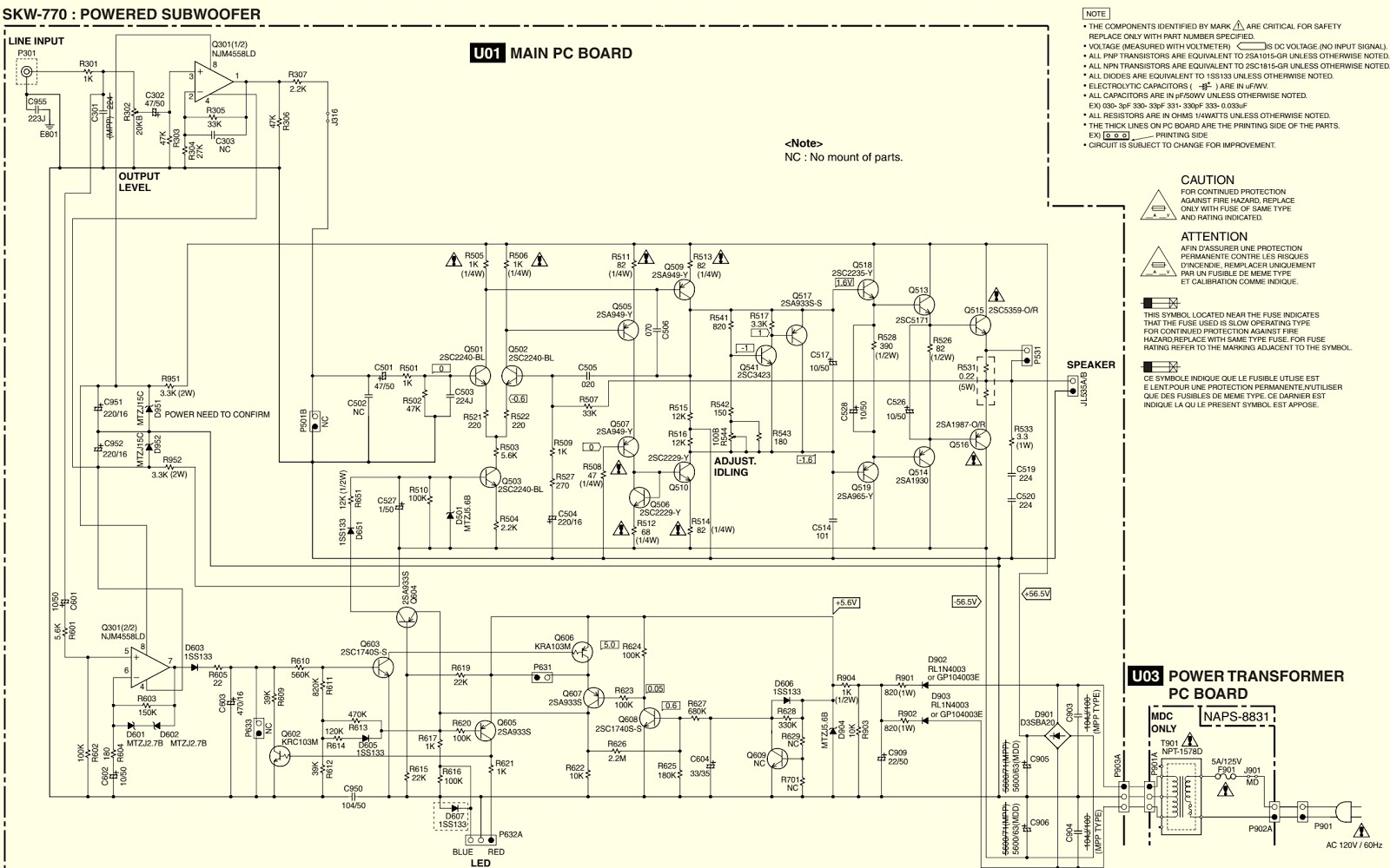 Onkyo 71 Ch Htp680 How To Adjust The Idling Current Sub Woofer Subwoofer Circuit Diagram Schematic