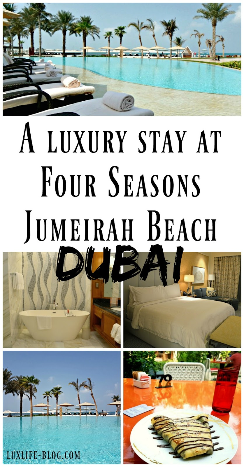 Read all about staying at the Four Seasons Resort Jumeirah Beach in Dubai! One of the most luxurious hotels in Dubai with a stunning outside swimming pool, beautiful rooms, and 11 onsite bars and restaurants! You can even have crepes, waffles, and ice-cream for breakfast!!