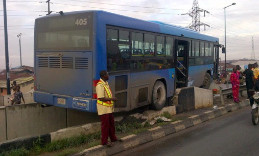Photos: BRT bus crashes after skidding off at Mile 12, Ikorodu Highway