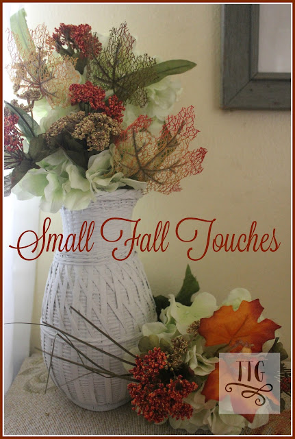 Just adding a few dollar store fall flower stems and leaves can give your bedroom a pretty holiday touch. It's simple, easy and thrifty.