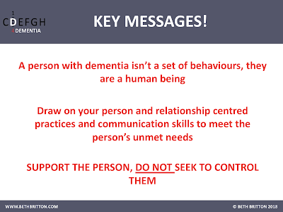 Key Messages for 'Changes associated with dementia'
