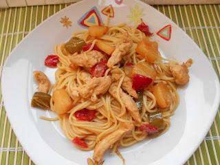 535° Receta: Espaguetis Con Pollo Y Piña