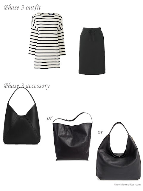 Adding a black hobo bag to a capsule wardrobe