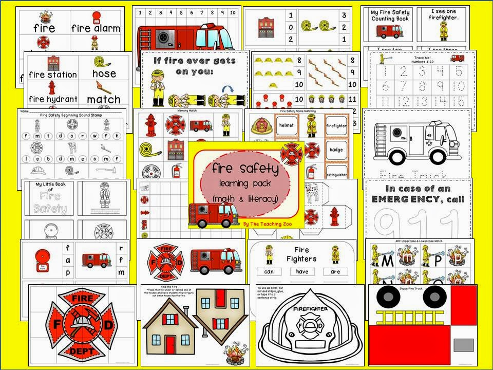 http://www.teacherspayteachers.com/Product/Fire-Safety-Theme-Learning-Pack-1529902