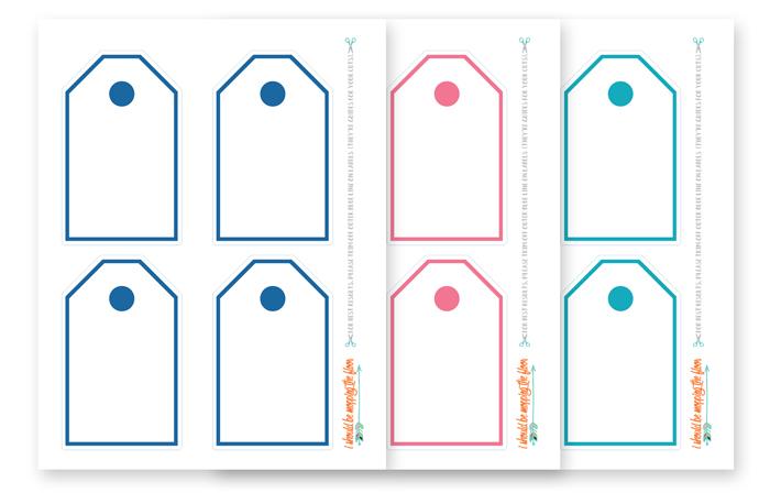 Blue, Pink, and Aqua Tags