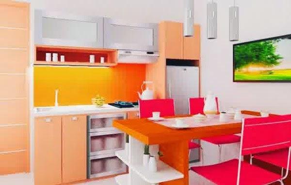 Desain dapur minimalis dan meja makan yang cantik dan cerah