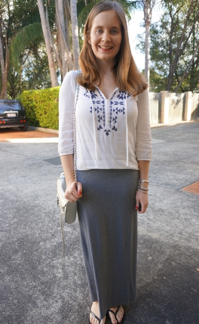 embroidered blouse, grey jersey maxi skirt silver mini MAC Bag | Away From Blue blog