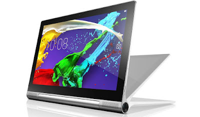 Lenovo Yoga Tablet 2 8.0 Specifications - LAUNCH Announced 2014, October  Available with 3G/Wi-Fi or Wi-Fi only support Tablet with no support for GSM voice communication DISPLAY Type IPS LCD capacitive touchscreen, 16M colors Size 8.0 inches (~59.3% screen-to-body ratio) Resolution 1200 x 1920 pixels (~283 ppi pixel density) Multitouch Yes, up to 10 fingers BODY Dimensions 210 x 149 x 7 mm (8.27 x 5.87 x 0.28 in) Weight 419 g (14.78 oz) SIM Micro-SIM  - Built-in 3-stage kickstand PLATFORM OS Android OS, v4.4.2 (KitKat), upgradable to v5.0 (Lollipop) CPU Quad-core 1.33 GHz Chipset Intel Atom Z3745 GPU Intel Gen 7 (Ivy Bridge) MEMORY Card slot microSD, up to 64 GB (dedicated slot) Internal 16 GB, 2 GB RAM CAMERA Primary 8 MP, autofocus Secondary 1.6 MP Video Yes NETWORK Technology GSM / HSPA 2G bands GSM 900 / 1800 / 1900 3G bands HSDPA 900 / 2100 Speed HSPA GPRS Yes EDGE Yes COMMS WLAN Wi-Fi 802.11 a/b/g/n, dual-band, hotspot NFC No GPS Yes, with A-GPS USB microUSB v2.0, USB Host Radio No Bluetooth v4.0 FEATURES Sensors Accelerometer, compass Messaging Email, Push Email, IM Browser HTML5 Java No SOUND Alert types Vibration; MP3, WAV ringtones Loudspeaker Yes, with stereo speakers 3.5mm jack Yes  - Dolby Digital Plus BATTERY  Non-removable Li-Ion 6400 mAh battery Stand-by Up to 324 h (3G) Talk time Up to 18 h (3G) Music play  MISC Colors Platinum  - MP3/WAV/WMA/AAC player - MP4/H.264 player - Document viewer - Photo/video editor