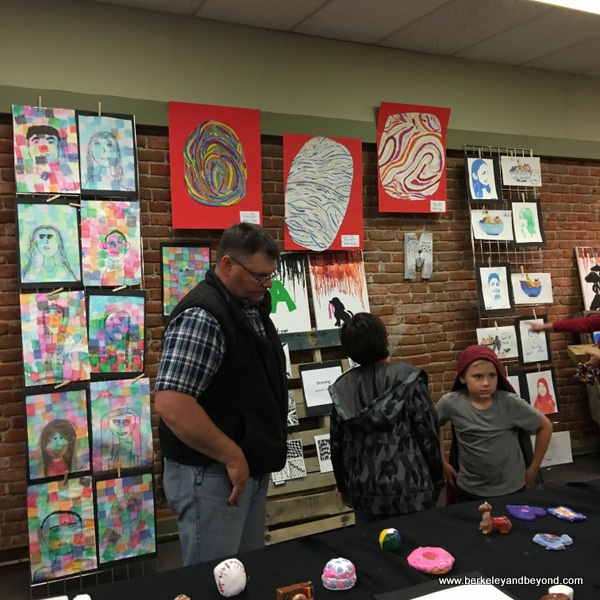 children's art at First Friday Art Walk in Woodland, California