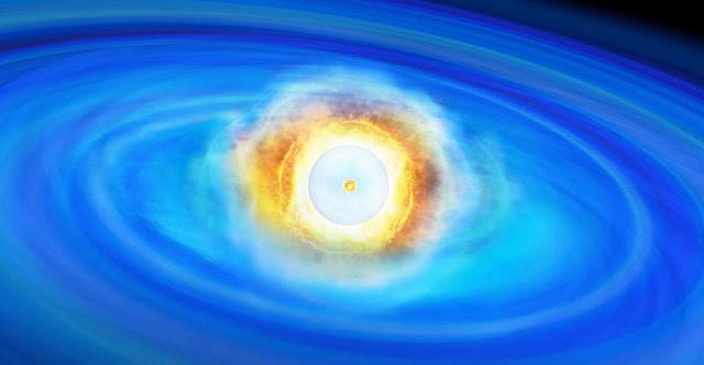The nuclear detonation of the surface helium layer triggered an inward shock wave, and now carbon nuclear fusion has begun at the center. Credit: Institute of Astronomy, University of Tokyo