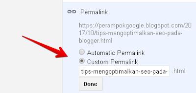 Setting Permalink Blogger