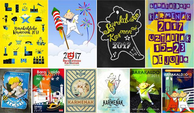Propuesta de carteles de fiestas de Barakaldo para 2017 y de los años anteriores