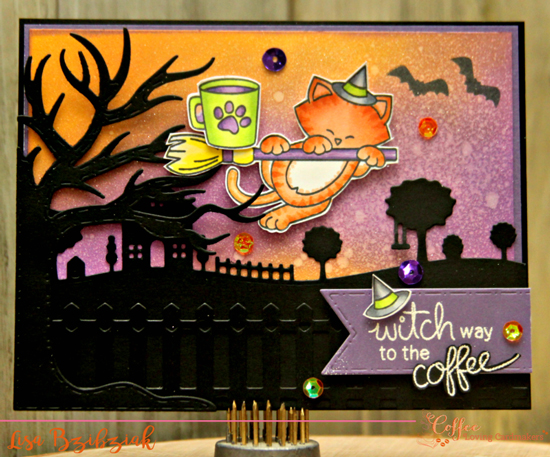Halloween and Coffee Card by Lisa Bzibziak | Newton's Boo-tiful Night and Newton Loves Coffee Stamp Sets by Newton's Nook Designs #newtonsnook #handmade