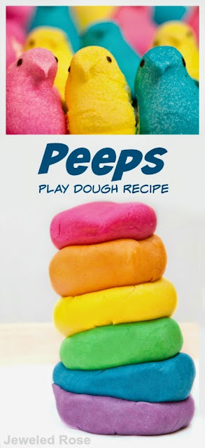 How to make PEEPS play dough- what a fun way to use some of that Easter candy the kids are sure to have too much of!
