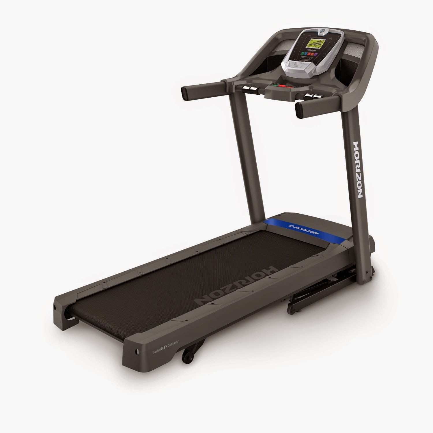 Horizon Fitness T101-04 Treadmill, review, 30 programs, 10% incline, Perfect FLEX Deck Cushioning, folding deck, fan, speakers, MP3 input, pulse grip heart rate monitors