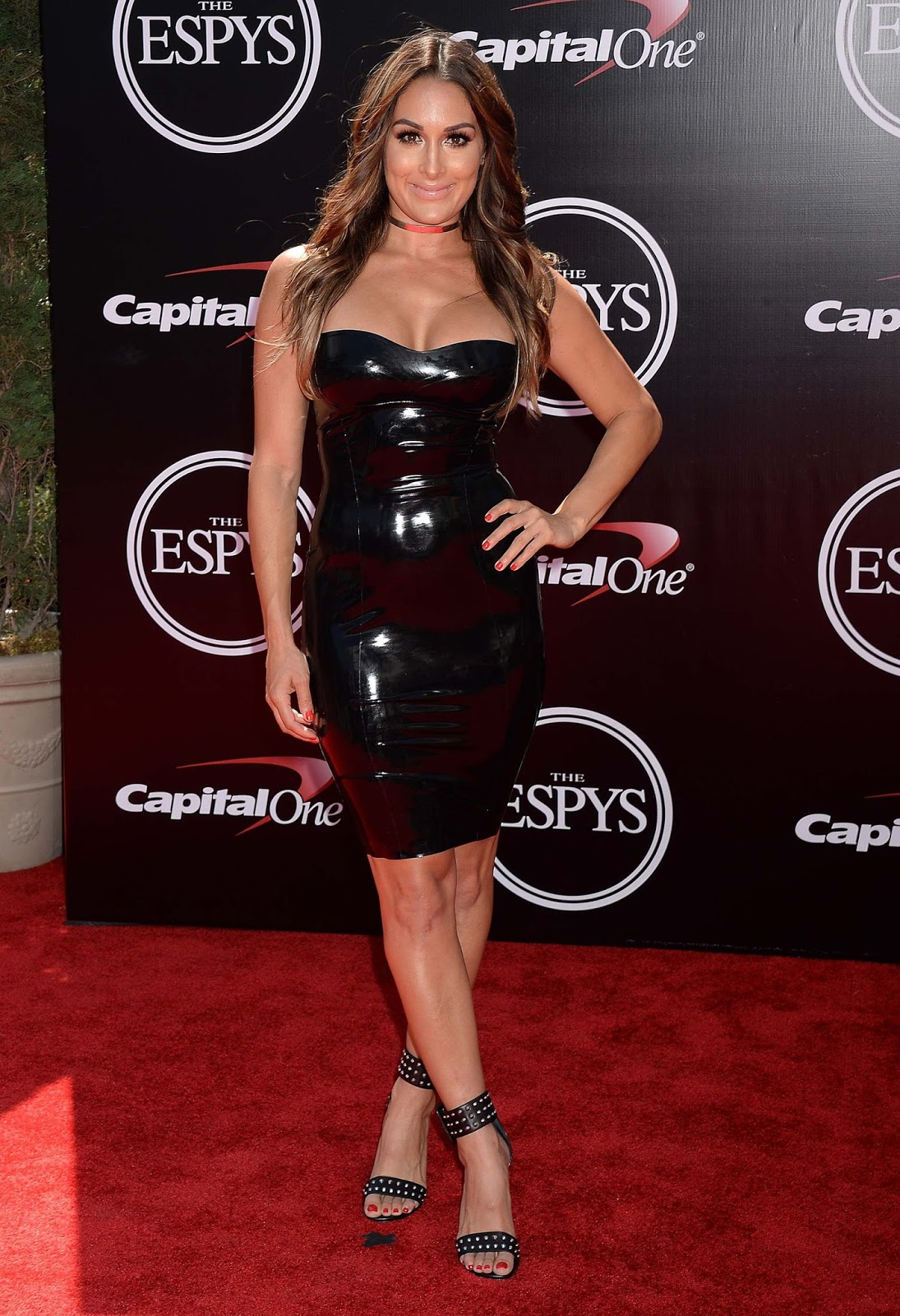 Nikki Bella wears latex dress to the 2016 ESPY Awards in LA