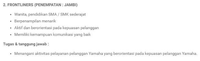 Lowongan Kerja Yamaha Motor
