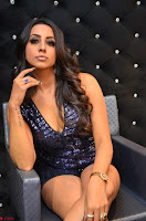 Sanjana looks happy in sparkling short Deep neck Purple Gown ~  Exclusive 76.JPG
