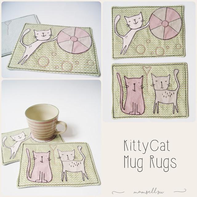 mug rugs, kitty cat appliqué, Vorlage, Tutorial, Nähanleitung, GeschenkStoff Challenge 2017, Überraschungsgeschenk, Applikationsvorlage, Katzen, Tassen Teppich