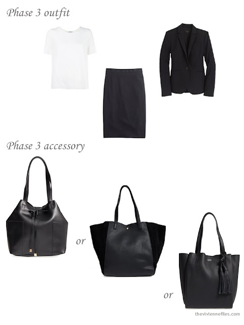 How to add a black tote bag to a business capsule wardrobe