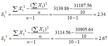 rumus menghitung S1 dan S2 pada uji t