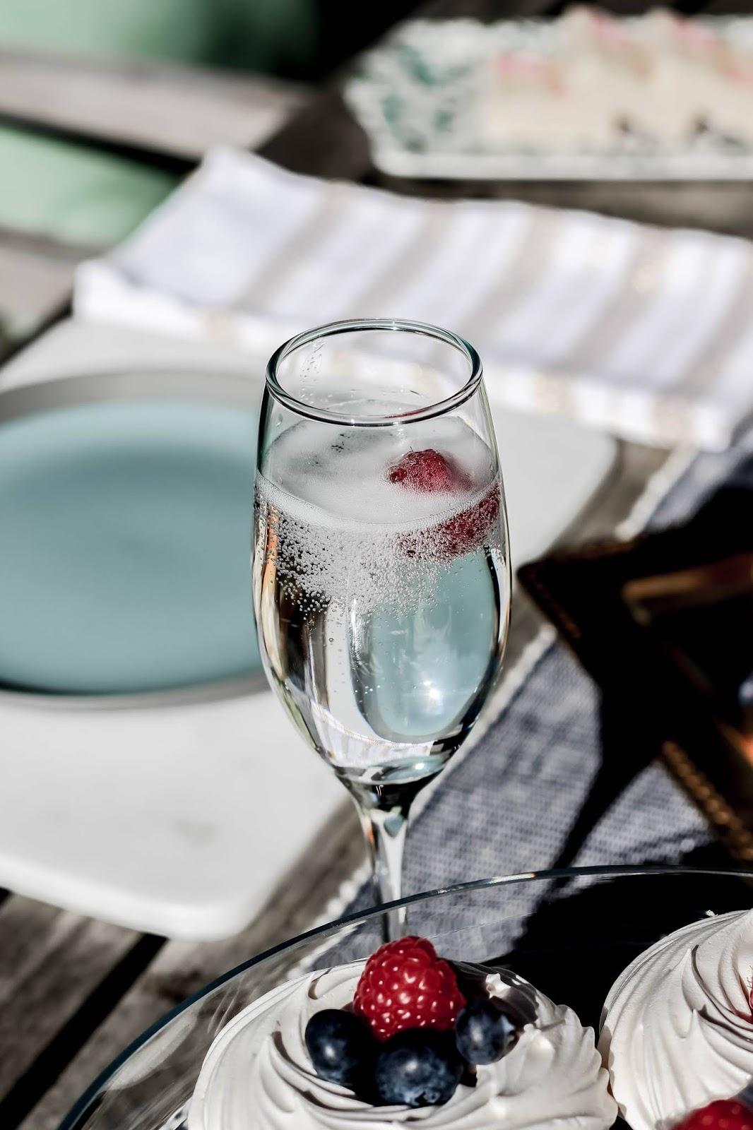 Raspberry Bubbles in Champagne Glass
