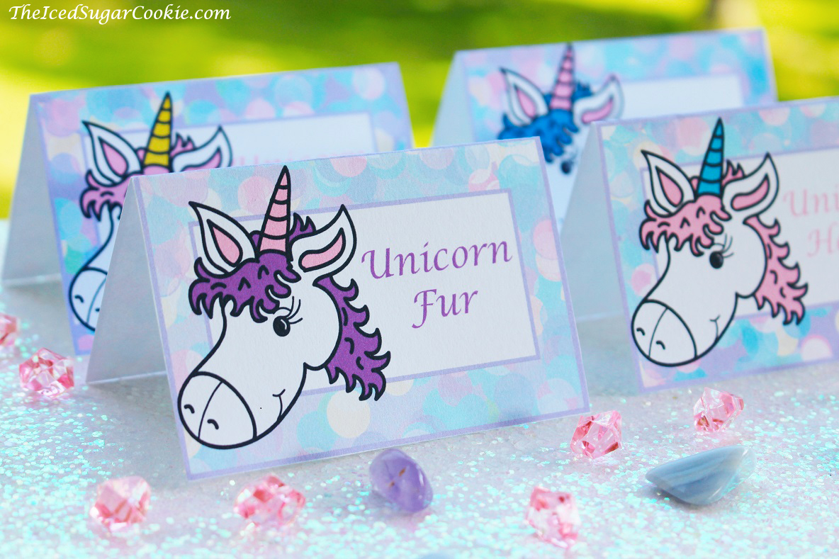 DIY Unicorn Birthday Party Food Label Tent Cards Idea Printable Template Digital Download