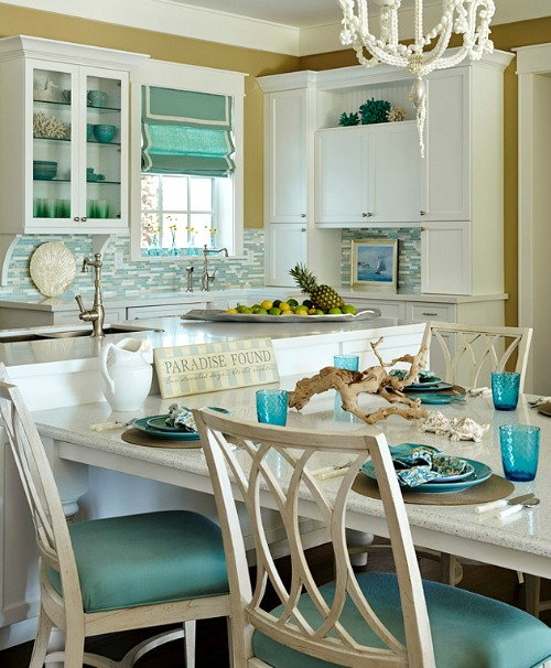 Turquoise blue white beach theme kitchen paradise for Beach inspired kitchen designs