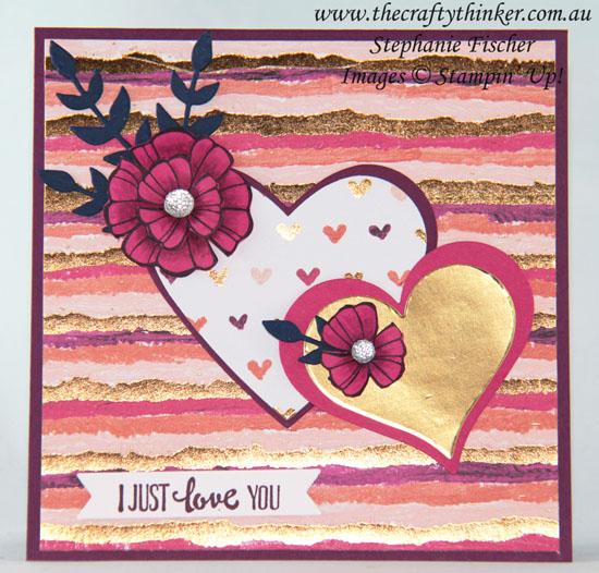 #thecraftythinker, #valentinecard, #cardmaking, #stampinup, Valentine card, Sweet & Sassy dies, Falling Flowers, Painted with Love, Stampin' Up! Australia Demonstrator, Stephanie Fischer, Sydney NSW