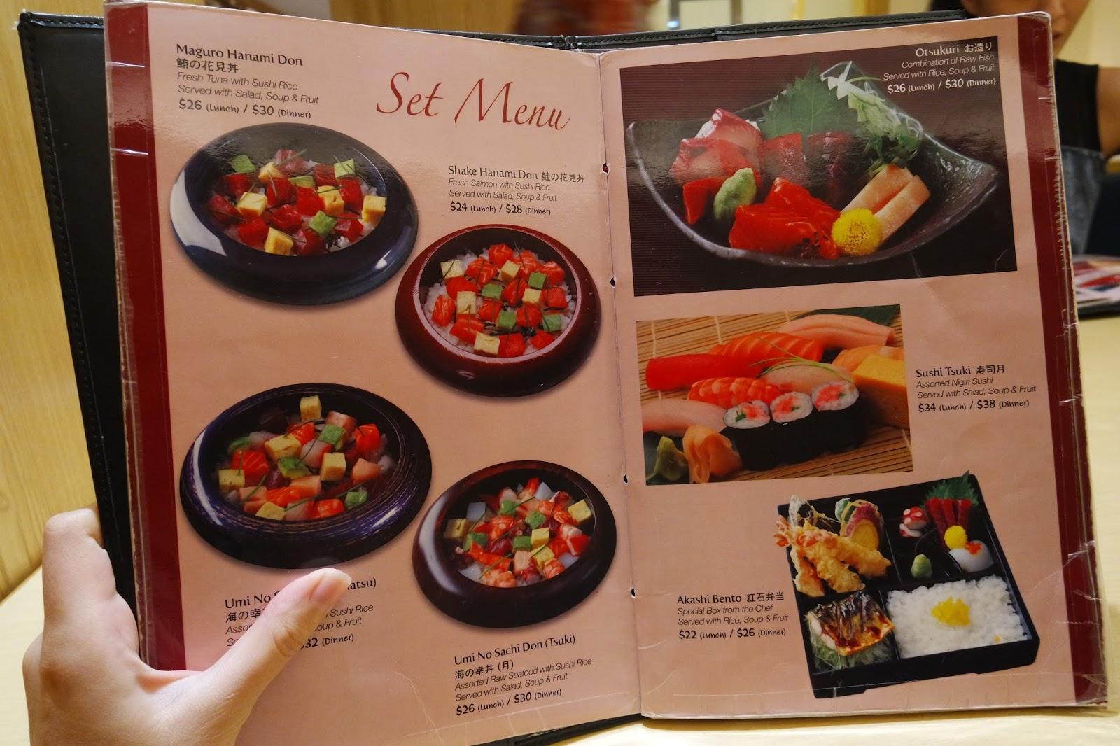 Akashi Japanese Restaurant Paragon Menu