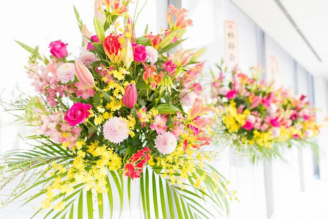 出演者に送られたスタンド花の写真