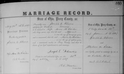 Perry County Ohio Marriage Record Joseph E Flowers Anna Maria Snider 1867